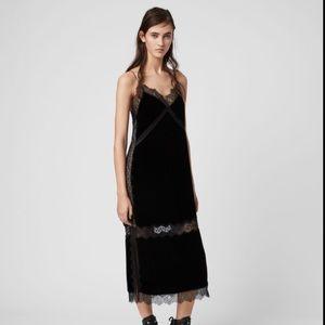 Brand New All Saints Noa Long Velvet Dress